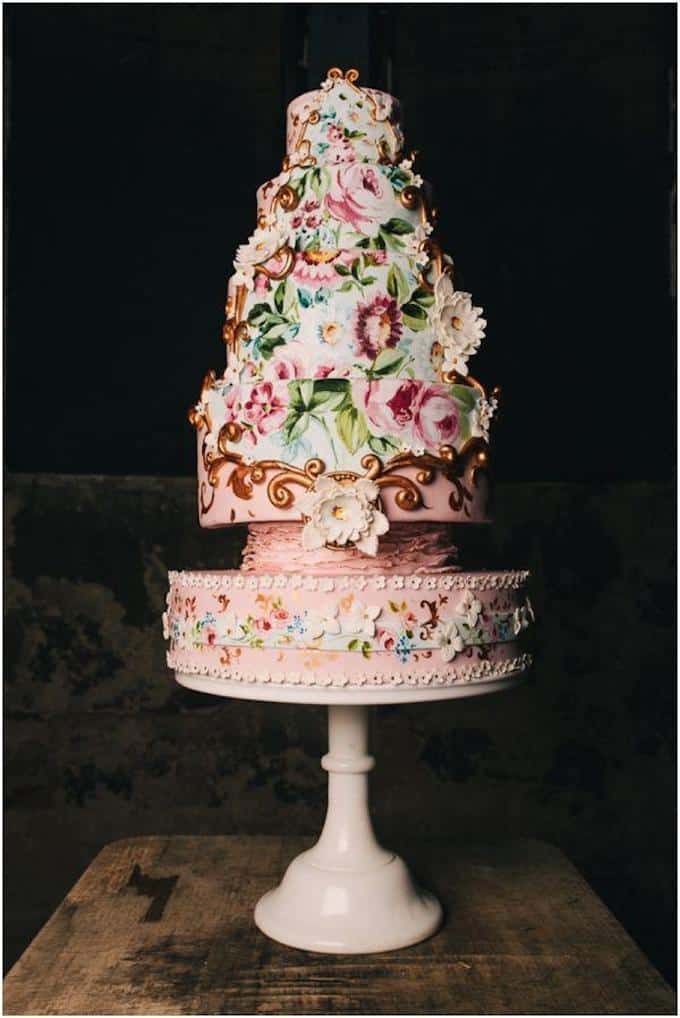 Baroque Painted Wedding Cake