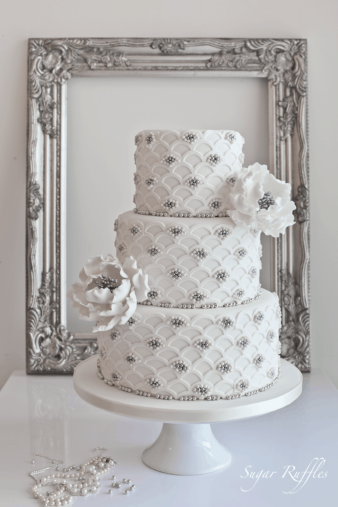 Black silver and white wedding cakes