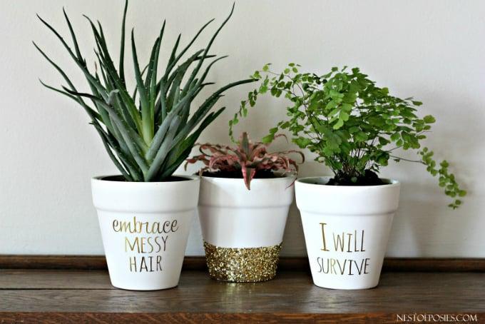 gold foil lettering on flower pots