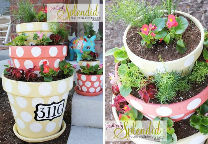 polka dotted tiered planters