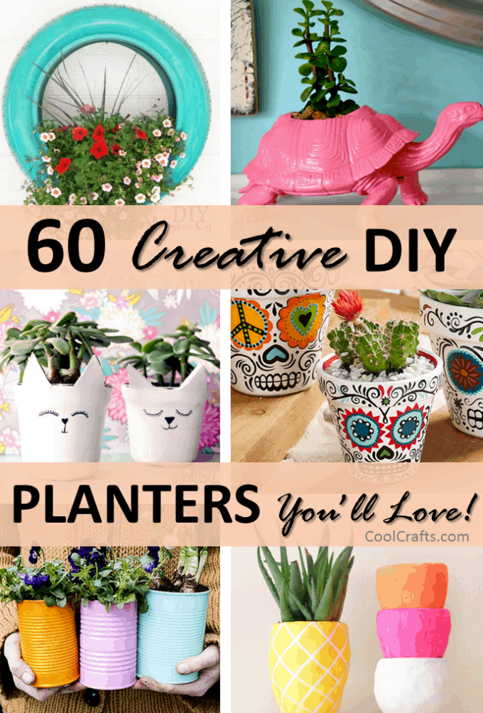 60 creative diy planters you 39 ll love for your home cool for Art and craft pot decoration