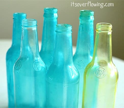 recycled tinted wine bottles
