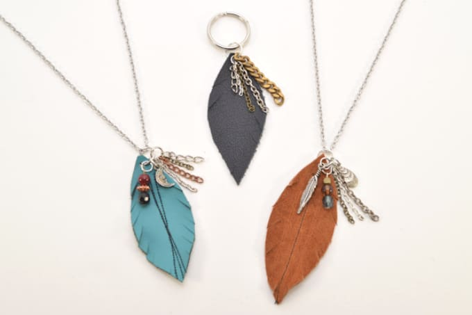 faux leather feather necklaces
