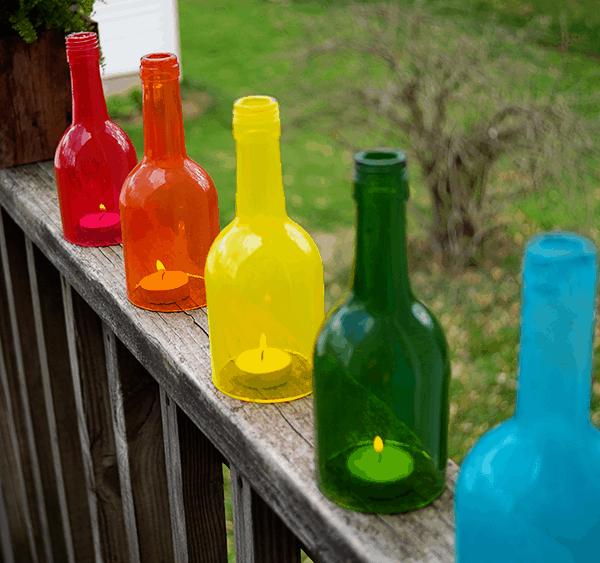 wine bottle craft rainbow lanterns