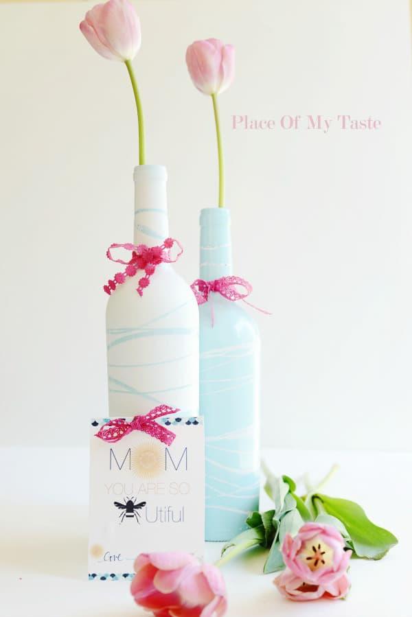 upcycled wine bottle vases
