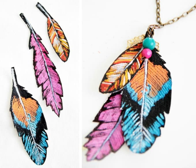 faux feather necklace