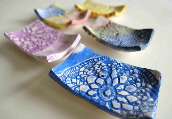 doily clay soap dishes