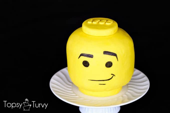 Lego man head cake