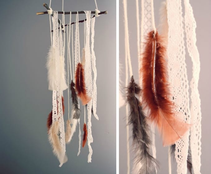 feather and lace mobile