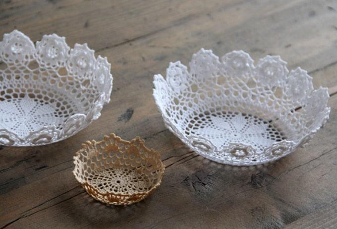 diy lace doily bowl
