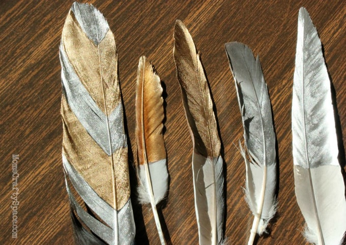 diy glided feathers