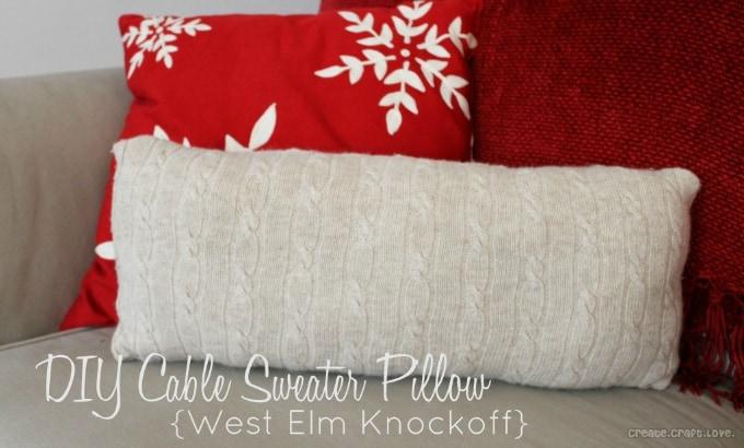 diy cable sweater pillow