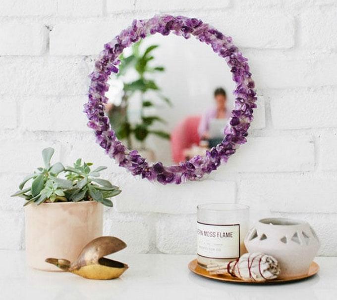 amethyst framed mirror