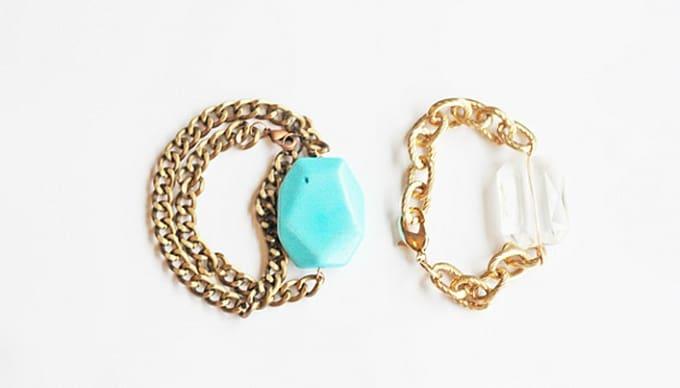 gemstone-inspired chain bracelets