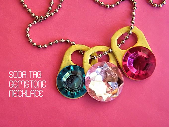 soda tab gemstone necklaces