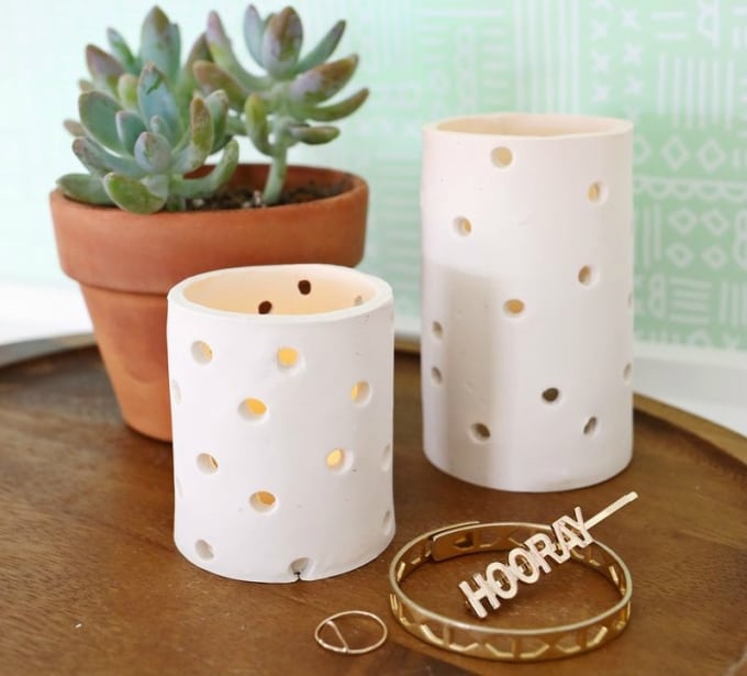 35 diy air dry clay projects that are fun easy this simple yet stunning diy clay votive from a beautiful mess is the perfect dcor item to add that subtle candlelight glow to your space solutioingenieria Gallery
