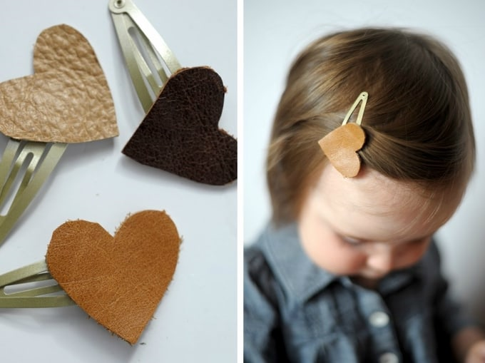 Diy Leather Heart Hair Clips