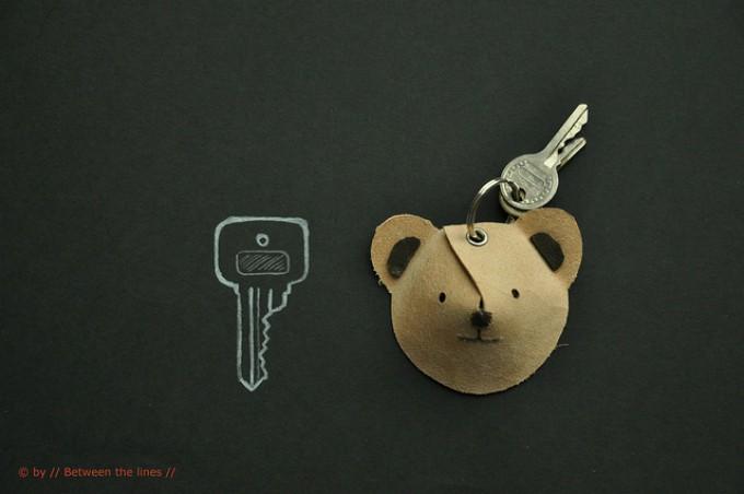 DIY leather bear keychain