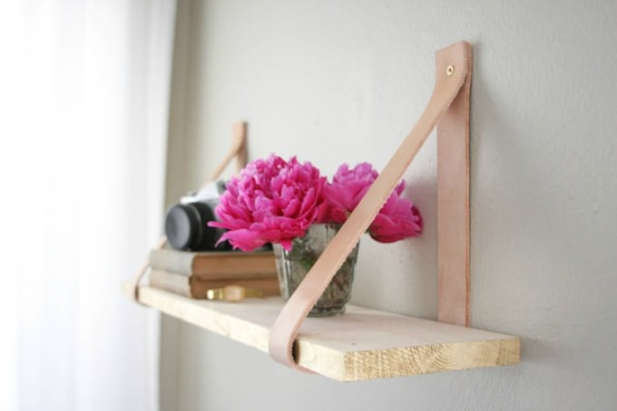 leather shelf holder