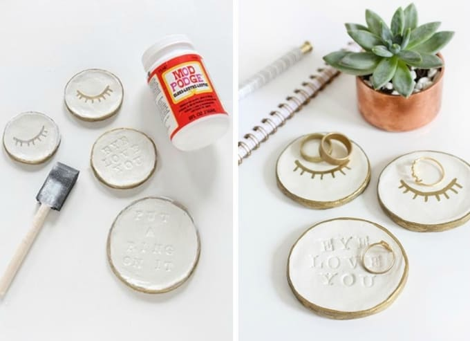 stamped clay dishes