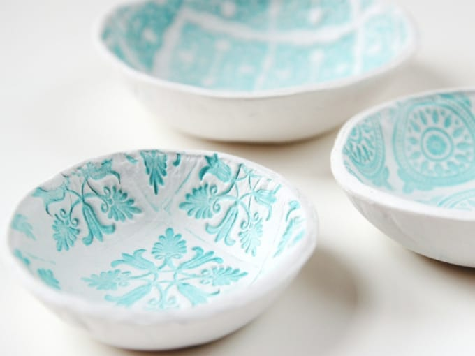 diy stamped clay dish