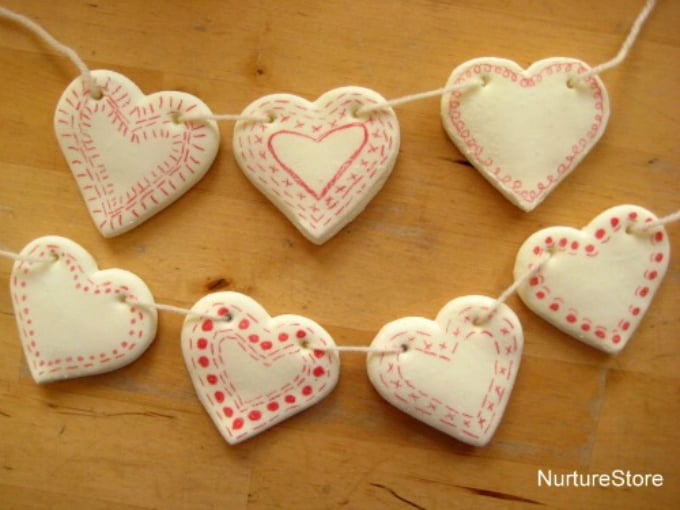 clay heart bunting