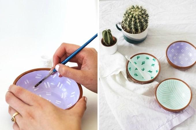 diy pattern clay bowls