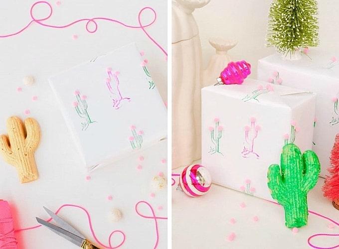 cactus pom pom gift wrap