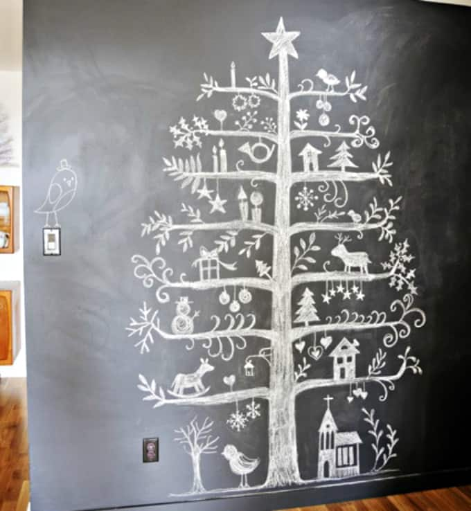 picture of christmas tree on blackboard