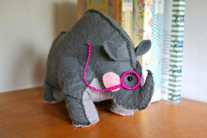 felt rhino bookend