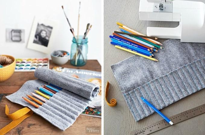 roll-up felt pencil holder