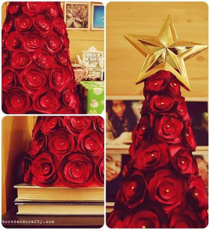 Christmas tree made from red rosettes