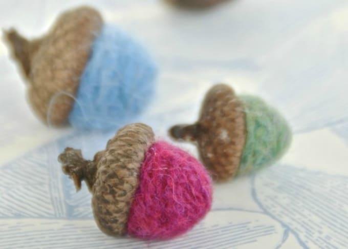 yarn felted acorns