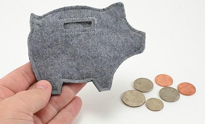 felt piggy coin purse