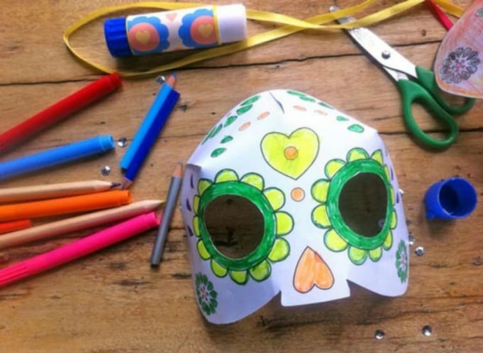 paper Day of the Dead skull mask