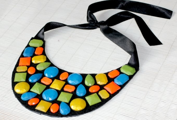 diy neon gem necklace