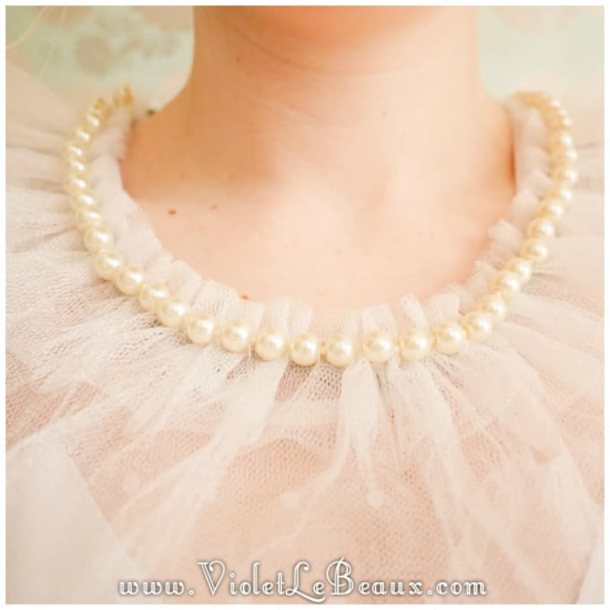 tulle pearl collar necklace