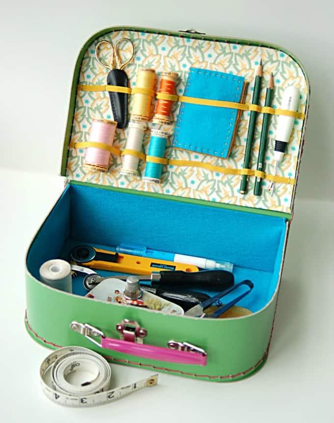cardboard mini suitcase sewing kit