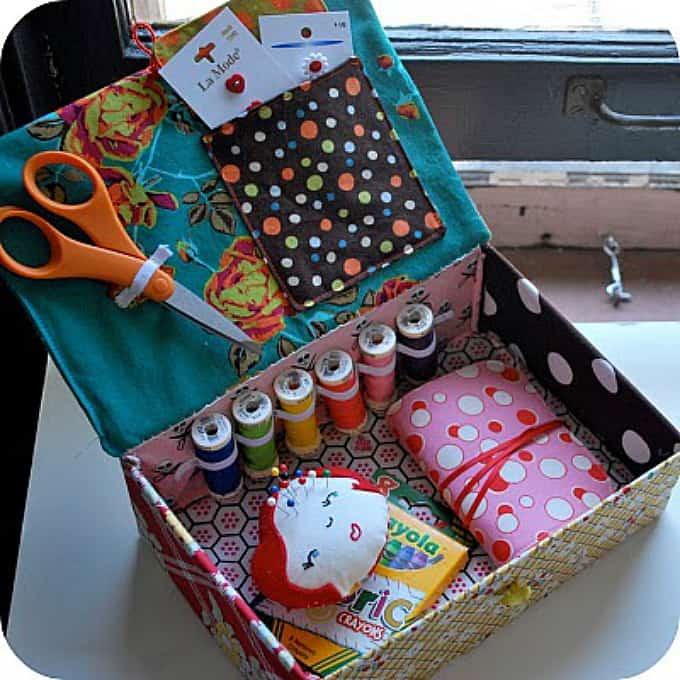 cardboard box sewing kit