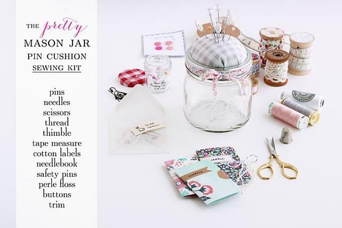 mason jar pin cushion sewing kit