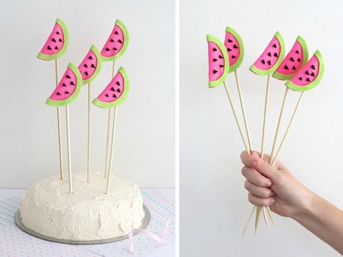 felt watermelon cake toppers