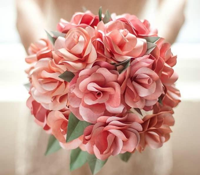 paper rose wedding bouquet