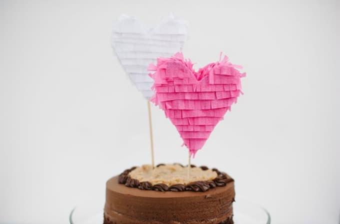 fringe heart wedding cake topper