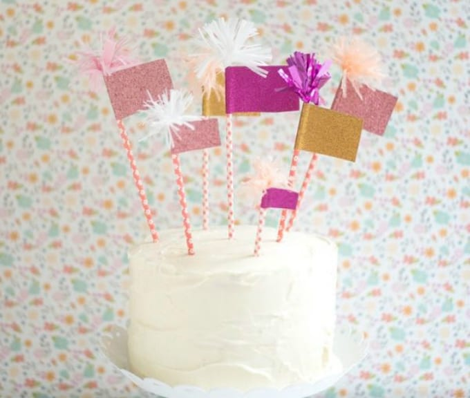 sparkly flags cake topper