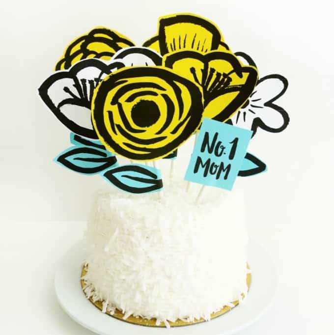 mothers day garden cake topper