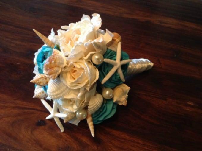 seashell bridal wedding bouquet