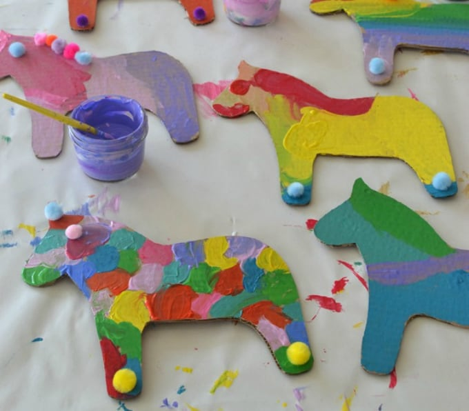 Ordinary Horse Craft Ideas For Kids Part - 8: Dala Horse Party Crafts