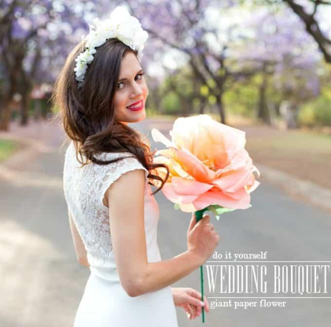 giant paper flower wedding bouquet