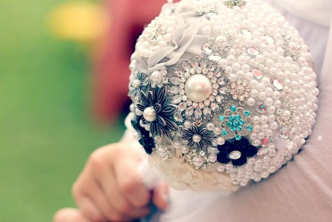 beaded bride bouquet