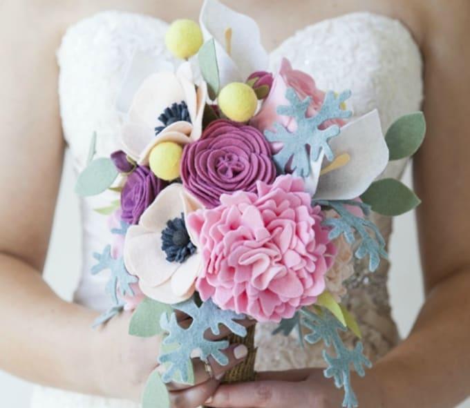 felt flower wedding bouquet